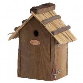 Dřevěná ptačí budka pro sýkoru modřinku, Esschert Design, slaměná střecha, přírodní