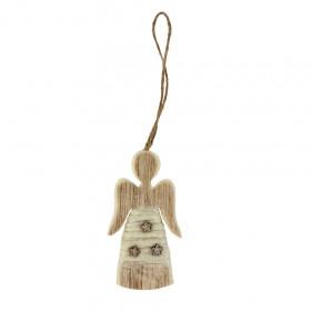 Dřevěná vánoční ozdoba, anděl, dekor hvězdy, vlna, 6x11cm, přírodní - bílá