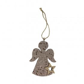 Dřevěná vánoční ozdoba, anděl s hvězdou, s glitry, 7x9cm, stříbrná