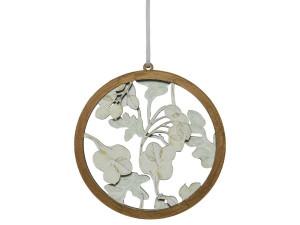 Dřevěná vánoční ozdoba, bobule v kruhu, průměr 10cm, přírodní - bílá