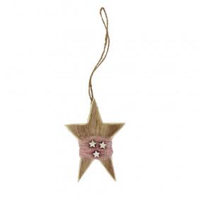 Dřevěná vánoční ozdoba, hvězda, dekor hvězdy, vlna, 7.5x11cm, přírodní - růžová