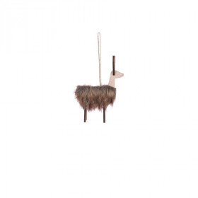 Dřevěná vánoční ozdoba, lama, 11x6x16cm, plyš, hnědá