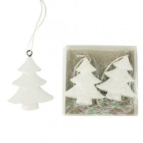 Dřevěná vánoční ozdoba, stromek, 5x1.5x6cm, bílá, 2 ks