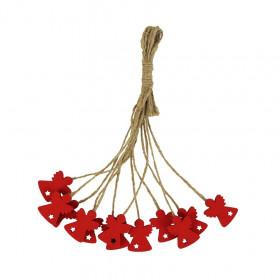 Dřevěná vánoční ozdoba, závěs anděl, 2.2cm, provaz, červená, 12 ks