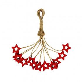 Dřevěná vánoční ozdoba, závěs hvězda, 3cm, provaz, červená, 12 ks