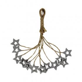 Dřevěná vánoční ozdoba, závěs hvězda, 3cm, provaz, stříbrná, 12 ks