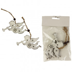 Dřevěná vánoční ozdoba, závěs hvězda, 9.5x5.8cm, provaz, bílá, 2 ks