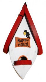 Dřevěná závěsná ptačí budka, Vogelvilla Happy Hour, bílá