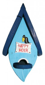 Dřevěná závěsná ptačí budka, Vogelvilla Happy Hour, světle modrá