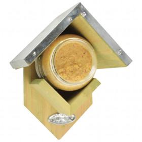 Dřevěné krmítko s plechovou střechou a burákovým máslem pro ptáky, Esschert Design