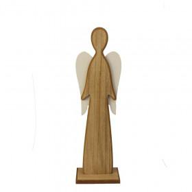 Dřevěný anděl na podstavci, 15x8x46.5cm, přírodní