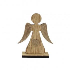 Dřevěný anděl na podstavci, dekor srdce, 13x4x15.8cm, přírodní