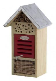 Dřevěný hotel pro hmyz s oplechovanou stříškou, Esschert Design Dům, vysoký 32.5 cm