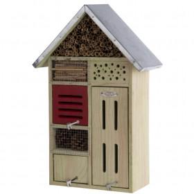 Dřevěný hotel pro hmyz s oplechovanou stříškou, Esschert Design Dům, vysoký 48 cm