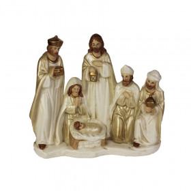 Figurka Svatá rodina a Tři králové, keramika, 22.7x8.6x20cm, bílo-zlatá