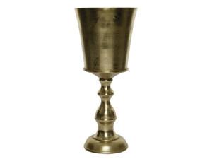 Hliníková váza, tvar číše, průměr 24cm, výška 55cm, zlatá