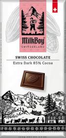 Hořká čokoláda, Milkboy Switzerland Extra dark 85% Cocoa, 100 g