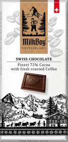 Hořká čokoláda, Milkboy Switzerland Finest 72% Cocoa with fresh roasted Coffee, 100 g