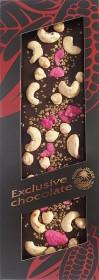 Hořká čokoláda, Severka Exclusive chocolate s kešu, lísk. oříšky, růží a zlatými krystalky, 135 g