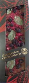 Hořká čokoláda, Severka Exclusive chocolate s otružinami, malinami a mátou, 120 g
