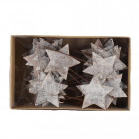 Hvězda na drátku, březová kůra, průměr 5.5cm, přírodní, 36ks