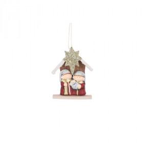 Jesličky Svatá rodina, keramika, 10x4.5x14cm, červená