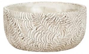 Keramická kulatá miska na květináč NDT ROTTERDAM, průměr 21 cm, krémová