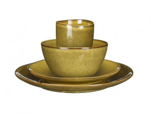 Keramické nádobí Mica TABO, sada, glazované, okrové, 16 ks