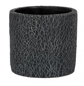 Keramický obal na květináč NDT LEON, glazovaný, průměr 13.8 cm, černý