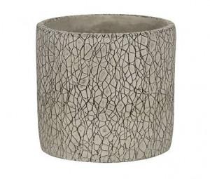 Keramický obal na květináč NDT LEON, glazovaný, průměr 13.8 cm, šedý