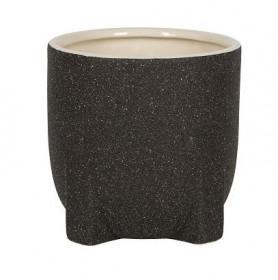 Keramický obal na květináč NDT PERTH, glazovaný, průměr 13 cm, černý