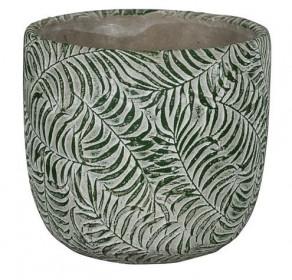 Keramický obal na květináč NDT ROTTERDAM, průměr 14 cm, zelený