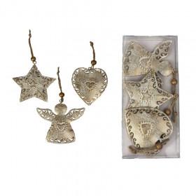 Kovová vánoční ozdoba, anděl-hvězda-srdce, 6 - 7.5cm, bílo-zlatá, 3 ks
