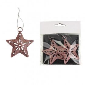 Kovová vánoční ozdoba, děrovaná hvězda, s glitry, 7cm, červená, 2 ks