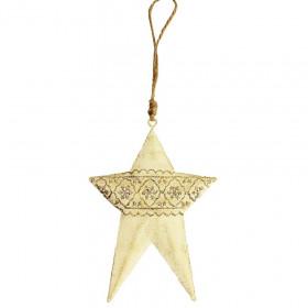 Kovová vánoční ozdoba, hvězda, 12.5cm, krémová