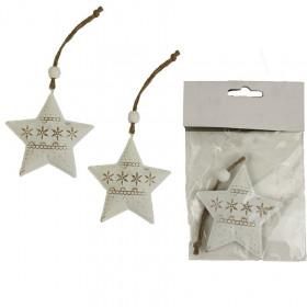 Kovová vánoční ozdoba, hvězda, 7cm, krémová, 2 ks