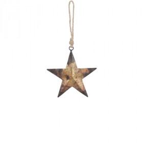 Kovová vánoční ozdoba, hvězda, dekor ornamenty, 12cm, zlatá