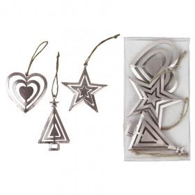 Kovová vánoční ozdoba, hvězda-srdce-strom, 6 - 8cm, stříbrná, 3 ks