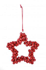 Kovová vánoční ozdoba, hvězda z rolniček, 9.5cm, červená
