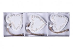 Kovová vánoční ozdoba, srdce, dekor ornament, 6cm, bílo-zlatá, 3 ks