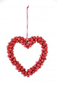 Kovová vánoční ozdoba, srdce z rolniček, 8x8.5cm, červená