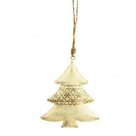 Kovová vánoční ozdoba, strom, 11.5cm, krémová