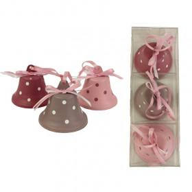 Kovová vánoční ozdoba, zvonek, dekor puntíky, 4.5cm, růžovo-hnědá, 3 ks