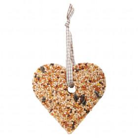 Krmivo pro ptáky, Esschert Design srdce, 7 - 10 cm, lisovaný ptačí zob