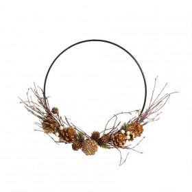 Kruh, šišky-bobule-proutí, závěs, kov, průměr 35cm, přírodní