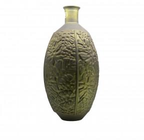 Kulatá váza s úzkým hrdlem, sklo, dekor monstera, průměr 29cm, výška 59cm, zelená