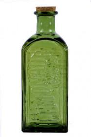 Lahev s korkovou zátkou, sklo, 12x29cm, 2 l, olivová