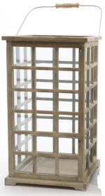 Lucerna, dřevo a kov, 28x28x50cm, natur
