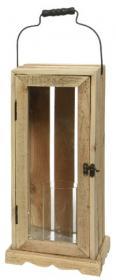 Lucerna, dřevo a sklo, 19x19x43cm, přírodní