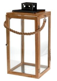 Lucerna, dřevo a sklo, 23.5x22x40cm, přírodní